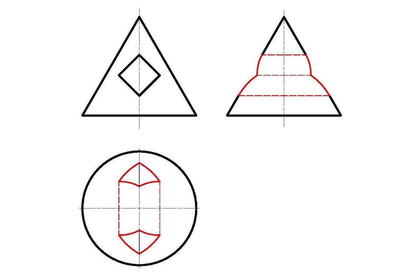 3 проекции конуса с призматическим отверстием