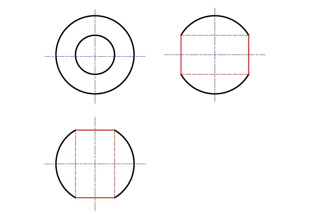 3 проекции шара с цилиндрическим отверстием
