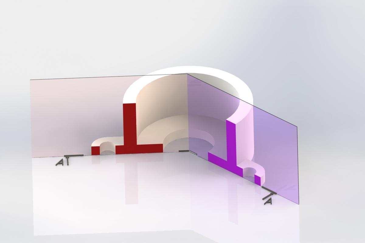 Визуализация сложного, ломаного разреза на 3D модели
